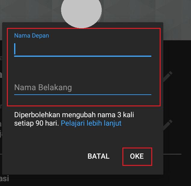 cara mengganti nama channel youtube di aplikasi